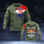 (Custom) Croatian Army Camo - Torn 3D Pullover All Over Print Hoodies