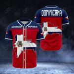 Dominican Republic Map All Over Print Baseball Jersey Shirt