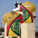Ghana Coat Of Arms Pattern All Over Print Polo Shirt