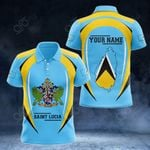 Customize Saint Lucia Map & Coat Of Arms All Over Print Polo Shirt