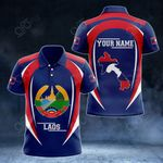Customize Laos Map & Coat Of Arms All Over Print Polo Shirt