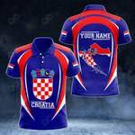 Customize Croatia Map & Coat Of Arms All Over Print Polo Shirt