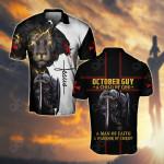 October Guy A Child Of God A Man Of Faith A Warrior Of Christ All Over Print Polo Shirt