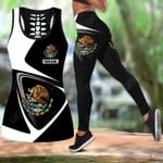 Customize Mexico Coat Of Arms & Flag Hollow Tank Top Or Legging