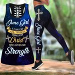 June Girl I Can Do All Things Through Christ Who Give Me Strength Hollow Tank Top Or Legging