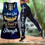 April Girl I Can Do All Things Through Christ Who Give Me Strength Hollow Tank Top Or Legging