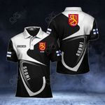Customize Finland Coat Of Arms & Flag All Over Print Polo Shirt