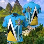 Saint Lucia Flag With Coat Of Arms All Over Print Polo Shirt