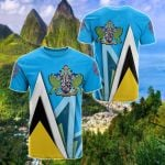 Saint Lucia Flag With Coat Of Arms All Over Print T-shirt
