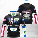 Living In America With Salvadorian Roots All Over Print Neck Gaiter Hoodie