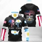 Living In America With Argentine Roots All Over Print Neck Gaiter Hoodie