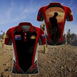 Customize Australian Army Veteran Anzac Day Lest We Forget All Over Print Polo Shirt