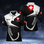 Customize Switzerland Coat Of Arms & Flag All Over Print Polo Shirt
