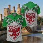 Wales Dragons Celtic Knot All Over Print Polo Shirt