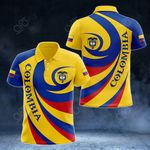 Colombia Coat Of Arms - Whirlpool Style All Over Print Polo Shirt