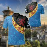 Scotland Celtic - Scottish Lion With Thistle Patterns All Over Print Polo Shirt