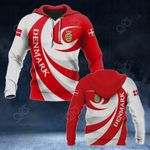 Denmark Coat Of Arms - Whirlpool Style All Over Print Hoodies