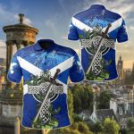 Scotland Celtic Cross Mix Claymore - Thistle All Over Print Polo Shirt