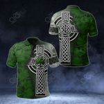 Irish Shamrock Celtic Cross All Over Print Polo Shirt