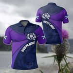 Scotland Round Thistle Purple All Over Print Polo Shirt