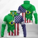 America My Home - Brazil My Blood Skull Mix All Over Print Neck Gaiter Hoodie