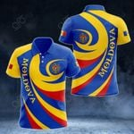 Moldova Coat Of Arms - Whirlpool Style All Over Print Polo Shirt