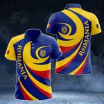 Romania Coat Of Arms - Whirlpool Style All Over Print Polo Shirt