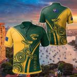 Australia Rugby Kangaroo & Aboriginal Patterns All Over Print Polo Shirt