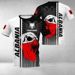 Customize Albania Coat Of Arms & Special Skull All Over Print T-shirt