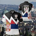 Serbia Lightning Flag All Over Print Polo Shirt