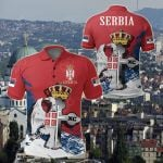 Serbia Special Eagle Orthodox Cross All Over Print Polo Shirt