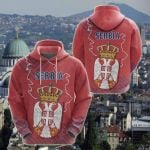 Serbia Coat Of Arms Mix All Over Print Hoodies