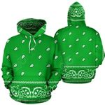 Badana Green All Over Print Pullover Hoodies
