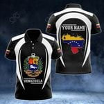 Customize Venezuela Map & Coat Of Arms 3D Style All Over Print Polo Shirt