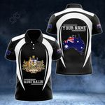 Customize Australia Map & Coat Of Arms 3D Style All Over Print Polo Shirt