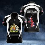 Customize United Kingdom Map & Coat Of Arms 3D Style All Over Print Polo Shirt