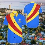Congo Special Flag Short Sleeve Linen Button Down Shirt