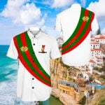 Portugal Special Flag White Short Sleeve Linen Button Down Shirt
