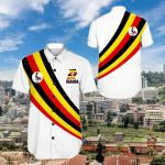 Uganda Special Flag Short Sleeve Linen Button Down Shirt