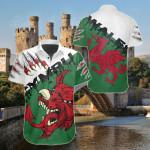 Welsh Dragon Special Short Sleeve Linen Button Down Shirt
