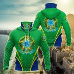 Brazil Coat Of Arms Style All Over Print Neck Gaiter Hoodie