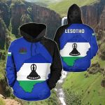 Lesotho Map All Over Print Hoodies