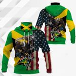 Jamaica - United States Eagle All Over Print Neck Gaiter Hoodie