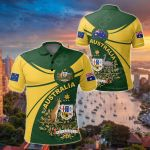 Australia Round Coat Of Arms All Over Print Polo Shirt