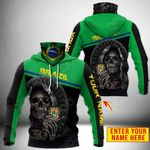 Customize Brazil Coat Of Arms - Reaper All Over Print Neck Gaiter Hoodie