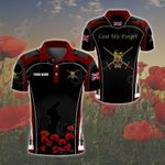 Customize British Army Symbol Flag Poppy - Red All Over Print Polo Shirt
