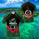 Vanuatu Rugby Flag Style All Over Print Polo Shirt