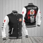 (Custom) Peru Coat Of Arms Skull Flag All Over Print Varsity Jacket