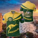 Australia Round Kangaroo Aboriginal Green All Over Print Polo Shirt