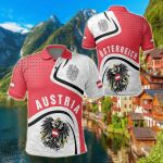 Austria Coat Of Arms And Flag All Over Print Polo Shirt